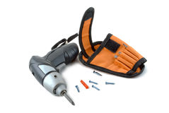 Wireless screwdriver. With a holster, bits and screws Stock Photography