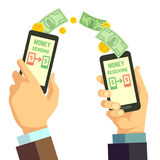 Wireless sending money with smartphone vector banking concept. Receiving and sending processing cash illustration Stock Images