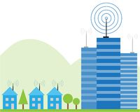 Wireless signal of internet into houses Royalty Free Stock Photo