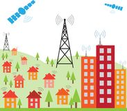 Wireless signal of internet into houses Stock Image