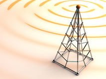 Wireless signal. Shiny tower and abstract waves of signal Royalty Free Stock Photography