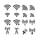 Wireless signal web icon set. Wi fi icons. Secured, unsecured, anthena, password protected icons. Wireless signal web icon set. Wi fi icons. Secured, unsecured Royalty Free Stock Images