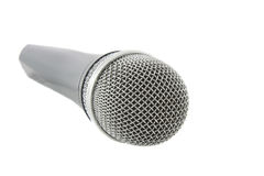 Wireless silver microphone. Isolated over white background Stock Photography