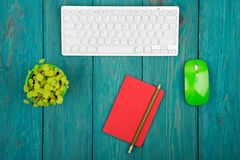 Wireless slim white keyboard and green mouse, notepad, flower on. Blue wooden background Royalty Free Stock Images