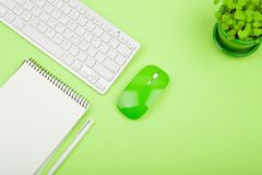 Wireless slim white keyboard and green mouse, notepad, flower on. Green background Stock Photo