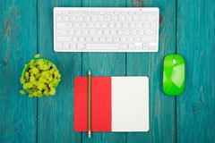 Wireless slim white keyboard and green mouse, notepad, flower on. Blue wooden background Royalty Free Stock Photography