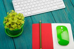 Wireless slim white keyboard and green mouse, notepad, flower on. Blue wooden background Royalty Free Stock Image