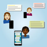 Wireless smartphone chat. Three women chatting with smartphones Stock Images