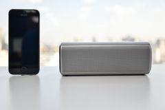Wireless Speaker and Mobile phone Stock Images