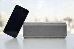 Wireless Speaker and Mobile phone Royalty Free Stock Photography