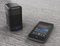 Wireless Speakers connected to Mobile Phone. 3d Rendering Stock Image