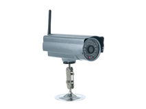 Wireless surveillance. Camera isolated on white background Stock Photo