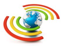 Wireless symbol around the blue earth. 3D illustration Stock Photos