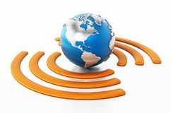 Wireless symbol around the blue earth. 3D illustration Royalty Free Stock Images