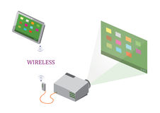 Wireless Tablet and Projector Royalty Free Stock Images