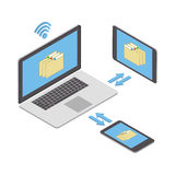 Wireless technologies. The concept of wireless data transmission. And sharing of information on various mobile devices. Vector isometric illustration Royalty Free Stock Image