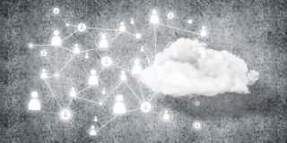 Wireless technologies for connection and sharing data as abstrac. Background image with cloud computing connection concept on concrete wall royalty free illustration