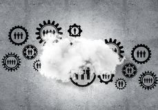 Wireless technologies for connection and sharing data as abstrac. Background image with gears and cloud computing connection concept on concrete wall Stock Images