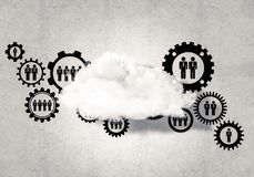 Wireless technologies for connection and sharing data as abstrac. Background image with gears and cloud computing connection concept on concrete wall Stock Image