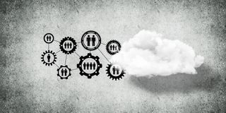 Wireless technologies for connection and sharing data as abstrac. Background image with gears and cloud computing connection concept on concrete wall royalty free illustration