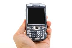 Wireless Technology. Hand Holding Smart-phone on an isolated white background Stock Photos