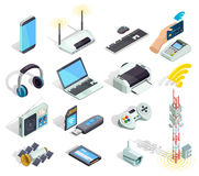 Wireless Technology Devices Isometric Icons Set. Wireless connection technology electronic gadgets and devices isometric icons collection with printer router and Stock Images