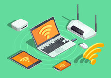Wireless Technology Electronic Devices Isometric Poster Stock Photos