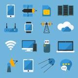 Wireless Technology Flat Icons Set Stock Image