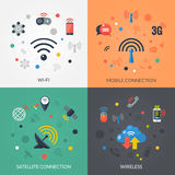 Wireless Technology 4 Flat Icons Square Royalty Free Stock Photo