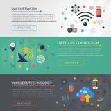 Wireless Technology 3 Horizontal Banners Set Royalty Free Stock Image