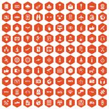 100 wireless technology icons hexagon orange Stock Photos