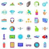 Wireless technology icons set, cartoon style Stock Photo