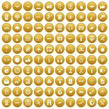 100 wireless technology icons set gold. 100 wireless technology icons set in gold circle isolated on white vector illustration Stock Illustration