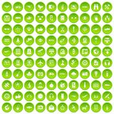 100 wireless technology icons set green. 100 wireless technology icons set in green circle isolated on white vectr illustration Stock Illustration