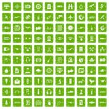 100 wireless technology icons set grunge green. 100 wireless technology icons set in grunge style green color isolated on white background vector illustration Royalty Free Stock Image