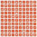 100 wireless technology icons set grunge orange. 100 wireless technology icons set in grunge style orange color isolated on white background vector illustration Stock Illustration