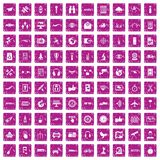 100 wireless technology icons set grunge pink. 100 wireless technology icons set in grunge style pink color isolated on white background vector illustration Stock Illustration