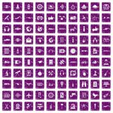 100 wireless technology icons set grunge purple. 100 wireless technology icons set in grunge style purple color isolated on white background vector illustration Royalty Free Stock Photo