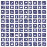 100 wireless technology icons set grunge sapphire. 100 wireless technology icons set in grunge style sapphire color isolated on white background vector Stock Image