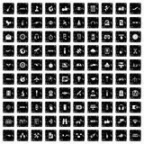 100 wireless technology icons set, grunge style Royalty Free Stock Image