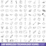 100 wireless technology icons set, outline style Stock Images