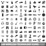 100 wireless technology icons set, simple style. 100 wireless technology icons set in simple style for any design vector illustration Royalty Free Stock Photography