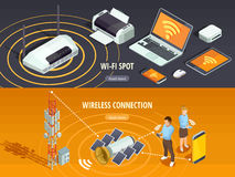 Wireless Technology Isometric Horizontal Banners Set. Internet wireless connection 2 isometric horizontal banners set with satellite signal and mobile devices Stock Image