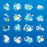 Wireless Technology Isometric Icons. Wireless technology isometric glow icons set with cloud safe data storage access remote health monitoring vector stock illustration