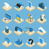 Wireless Technology Isometric Icons On Pedestals Royalty Free Stock Photography