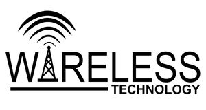 Wireless Technology Logo. A clip art illustration featuring the words 'wireless technology' which can be used as part of a logo or as just a design element
