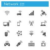 Wireless technology, Networkflat gray icons set of 16. On white background Royalty Free Stock Photography
