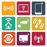 Wireless technology web icons set Stock Photography