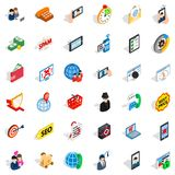 Wireless telecom icons set, isometric style. Wireless telecom icons set. Isometric set of 36 wireless telecom vector icons for web isolated on white background Stock Photography
