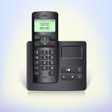Wireless telephone phone with answering machine and base on a white background. Stock Photo